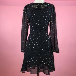 The Kooples Black Heart Print Lace Trim Long Dress